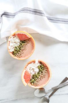 Grapefruit Smoothie Bowls | Quick Healthy Recipe | Gluten-Free, Dairy-Free, Vegan | HealthyGroceryGirl.com