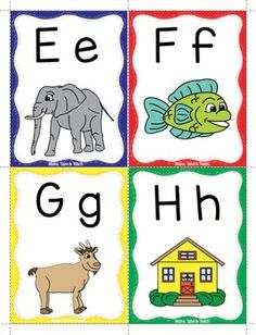 Alphabet - Keyword Flash Cards by Make Take Teach Alphabet Flash Cards Printable, Phonics Flashcards, Flashcards For Kids, Phonics Worksheets, Teaching The Alphabet, Learning Letters, Alphabet Activities, Preschool Writing, Kindergarten Math Worksheets