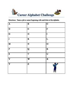 Career Alphabet Challenge - create a sheet for individual students, teams of students, or a poster for the whole class to come up with career titles. Also you could make it a Major Alphabet Challenge where students have to think of majors. This is career and/or major exploration activity can help springboard ideas for further research. Students could use a computer to help with the alphabet challenge.