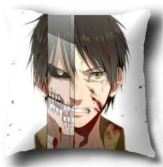 Anime Pillow Eren Jaeger Creative Throw Pillow 14.1*14.1Inch. I want it.