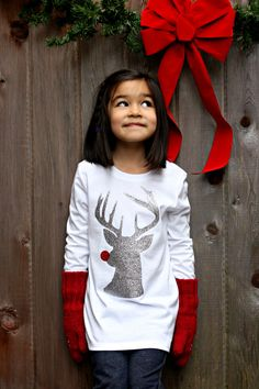 Sew Creative's Hipster Rudolph The Red Nosed Reindeer Hipster Shirt made on the Cricut Explore with Expressions Vinyl- 13 Days of Christmas