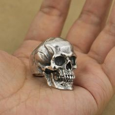 Gothic Jewelry 925 Sterling Silver High Detail Skull Ring - Item Description This Unique Jewellery Will Be A Perfect Gift For Any Occasion ! Skull Wedding Ring, Skull Engagement Ring, Silver Skull Ring, Silver Engagement Rings, Silver Rings, Skull Rings, Silver Charms, 925 Silver, Skull Jewelry