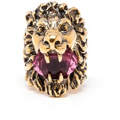 Gucci Antique Gold Lion'S Head Ring ($305) ❤ liked on Polyvore featuring jewelry, rings, gucci ring, antique jewellery, purple ring, antique jewelry and lion ring