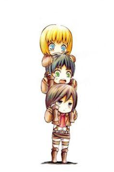 Chino Armin,Eren, and Mikasa