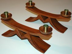 DANISH MODERN WOODEN CANDLE HOLDERS ARTIST SIGNED! DATED 1966 ...