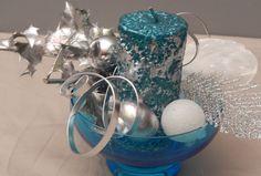 Bougeoire de Noel centre de table bleu contennant en verre : Accessoires de maison par 3ccallas-1