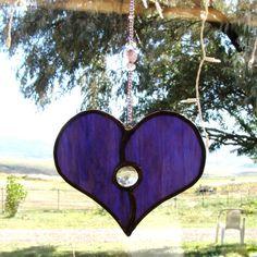 Purple Stained Glass Heart Suncatcher on by GreenhouseGlassworks