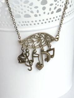 Antique Bronze Gramophone Phonograph Treble Clef Quaver Note Eighth Note Beam Note Filigree Leaf Rustic Necklace, Rustic Music Necklace N92