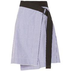 Rag & Bone Women's Lenna Stripe Skirt (4.323.150 IDR) ❤ liked on Polyvore featuring skirts, stripe, blue pleated skirt, high-low skirts, white pleated skirt, white cotton skirt and white knee length skirt