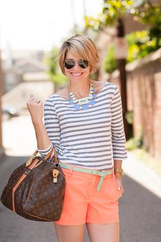 seersucker and saddles Looks Style, Casual Looks, My Style, Summer Chic, Spring Summer Fashion, Look Fashion, Womens Fashion, Fashion Trends, Look Con Short