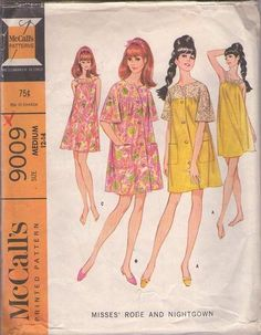 MOMSPatterns Vintage Sewing Patterns - McCall's 9009 Vintage 60's Sewing Pattern ADORABLE Mod Vanity Fair Style Round Yoked Summer Nightgown, Gown, Lace Bell Sleeve Duster Robe, House Coat Size M