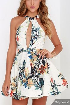 With the ocean nearby and a hula tune on the wind, the Lahaina Luau Ivory Floral Print Skater Dress will feel right at home! A bold botanical print dress with voluminous hem. Junior Party Dresses, Grad Dresses, Party Dresses For Women, Homecoming Dresses, Short Dresses, Summer Dresses, Lulu's Dresses, Floral Dresses, Floral Skater Dress
