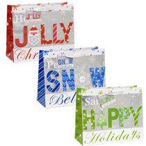 bulk large horizontal holiday gift bags at