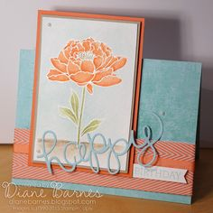 flower birthday card using Stampin Up You've Got This & Crazy About You. 2015 Annual catalogue sneak peek. By Di Barnes for Just Add Ink 262