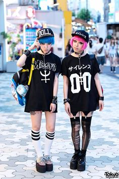 japanese tokyo street fashion harajuku style long socks platform creepers goth…