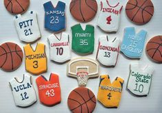 March Madness Basketball Cookies - hoops, balls and team jerseys Basketball Tricks, Love And Basketball, Basketball Plays, Basketball Workouts, Jordan Basketball, Basketball Shirts, Basketball Cookies, Basketball Birthday Parties, Bachelorette Party Themes