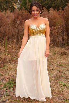 Kiss Me Under The Stars Maxi Dress: Gold/Ivory #shophopes
