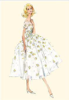 Barbie fashion illustration by Robert Best Barbie Fashion Sketches, Vintage Fashion Sketches, Fashion Illustration Vintage, Fashion Design Sketches, Fashion Dolls, Fashion Art, Drawing Fashion, Fashion Figures, Retro Fashion