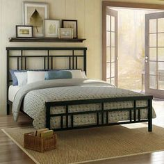 Amisco Cottage Full-size Metal Headboard and Footboard - Overstock Shopping - Great Deals on Amisco Beds Iron Furniture, Bedroom Furniture, Steel Bed, Bed Slats, Upholstered Platform Bed, Headboard And Footboard, Paint Headboard, Metal Beds, Bed Design