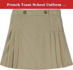 French Toast School Uniform Girls Side Plear Scooter, Khaki, 14. Adjustable Waist. Side Pleats. Pleats at Back. Decorative Horn Buttons. Size Zipper. 7 oz. Cotton Blend Twill with Peach and Silicon Finish.