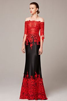 Half Sleeve Mermaid Chapel Train Appliques Red and Black Special Occasion… Evening  Dresses e96113085