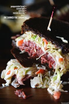 Use up leftovers for these awesome Corned Beef Sandwiches Best Sandwich, Soup And Sandwich, Sandwich Recipes, Meat Recipes, Cooking Recipes, Dinner Recipes, Reuben Sandwich, Sandwich Shops, Recipes