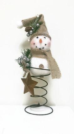 Bed Spring Snowman Christmas Decor Rustic by FunkyJunktique