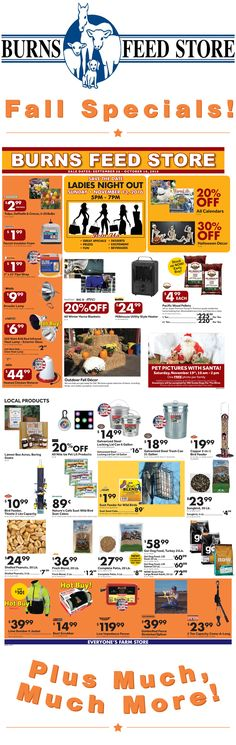 Our Fall Specials Are Here! Don't miss these great specials, they won't last long. Suet on sale at 89 cents per cake, Kaylor of Colorado Wildbird seed including Shelled Peanuts, Finch Blend, Complete Patio mix and Songbird mix, and much more!Sale prices valid September 26 - October 16.Checkout our Circular for a special 3-Day Blowout Sale!