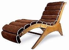 José Zanine Caldas - 1956 Chaise-Long executada com compensado naval, veludo e corda de algodão natural, estofamento em tecido. (61,5cx164px85h)