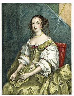 Colored Lithograph - CATHARINE OF BRAGANZA by LELY - c1895
