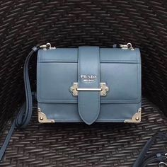 c1b673f94c10 Prada Cahier Leather Shoulder Bag 1BD095 Grey 2018