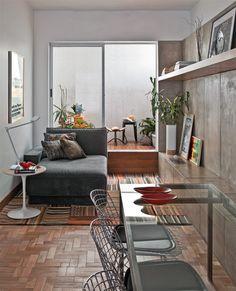 arquiteturadoimóvel: Apartamento com decoração masculina, em Belo Horizonte, é reformado incorporando modernidade (como os painéis em concreto), e tradição (reaproveitamento de móveis de família)