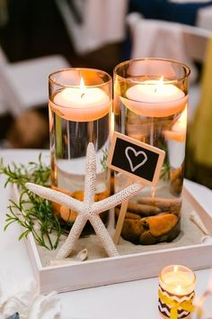 DIY Inexpensive Beach Wedding Centerpiece /  / http://www.himisspuff.com/starfish-beach-wedding-ideas/4/