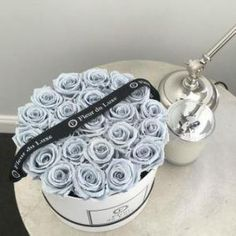 Fleur du Luxe preserved blue grey roses from Ecuador in our signature hat box… – Preserved Roses Luxury Flowers, My Flower, Fresh Flowers, Beautiful Flowers, Roses Luxury, Preserved Roses, Box Roses, Grey Roses, How To Preserve Flowers