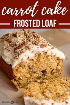 Carrot Cake Loaf – Southern Plate This decadent loaf is a smaller, more portable version of a traditional carrot cake. Perfect for traveling and gift giving! Carrot Cake Bread, Carrot Cake Frosting, Moist Carrot Cakes, Carrot Loaf, Loaf Cake, Carrot Bread Recipe Moist, Carrot Cake Cupcakes, Loaf Recipes, Carrot Recipes