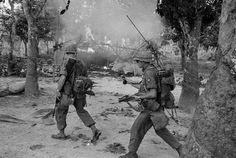 1st Infantry Division soldiers at Trung Lap. Note the RTO armed with an M79 grenade launcher.