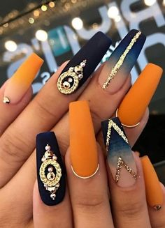 Ballerina Nägel - 40 amazing ideas for every occasion- Ballerina nails ideas for any occasion orange and blue ombre nails with stones and lines - Best Acrylic Nails, Acrylic Nail Designs, Nail Art Designs, Matte Nails, Orange Nail Designs, Nails Design, Gradient Nails, Holographic Nails, Autumn Nails Acrylic