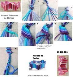 ImageFind images and videos about macrame bracelets on We Heart It - the app to get lost in what you love.macramé - zigzag bracelet - like the join with cords divided into 2 plaits avoiding bulk.Pulsera tejida 2 (sorry for English!A sterling silver brace Thread Bracelets, Diy Bracelets Easy, Bracelet Crafts, Macrame Bracelets, Jewelry Crafts, String Bracelets, Macrame Knots, Loom Bracelets, Hemp Jewelry