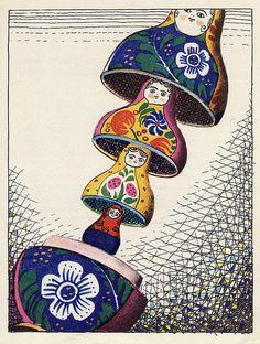 Illustrations by Lev Tokmakov for Katya in Toy City, 1973 . Military Drawings, Propaganda Art, Matryoshka Doll, Russian Art, Heart Art, Book Illustration, Illustrators, Book Art, Art Drawings