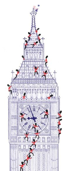 Big Ben & Queen's Guard illustration by Steve Antony from 'The Queen's Hat'