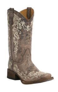 Corral Youth Vintage Tan w/ Ivory Floral Embroidery Square Toe Western Boots | Cavender's