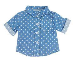 Denim Polka Dot Blouse fits 18 Inch Dolls Modelos Infantis 4c7e1acedbc