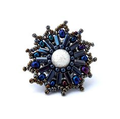 Freeform/freestyle Beaded Ring black silver iridescent by ibics, $30.00