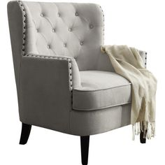 I love the simplicity of this neutral soft gray accent chair (affiliate)