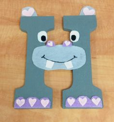 H is for HIPPO! Children's Alphabet Wall Decor. The letter 'H' craft