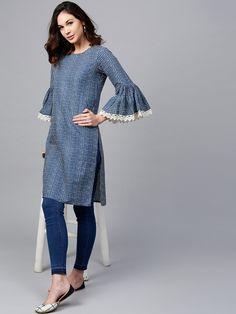 Buy AKS Navy Blue Checked Straight Kurta online in India at best price. Simple Kurta Designs, Kurta Designs Women, Blouse Designs, Latest Kurta Designs, Kurti Sleeves Design, Sleeves Designs For Dresses, Kurta Neck Design, Kurta Patterns, Dress Patterns