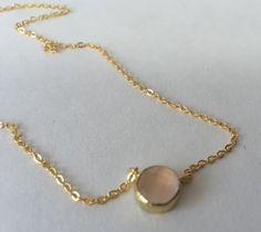 Lil Pink Gem | brass necklace plated in 24kg