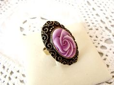 Vintage Polymer Clay Hand Made Ring from Israel