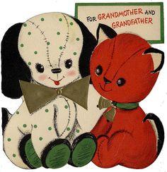 Vintage Christmas card cat & dog printable