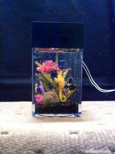 Dollhouse Miniature Fish Aquarium Tank - hand made and lighted